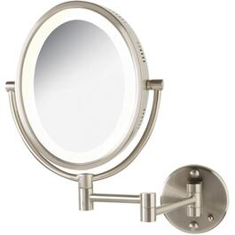 "1x+5x Oval 8"" x 10"" Chrome finish Wall Mount Lighted Makeup Mirror thumb"