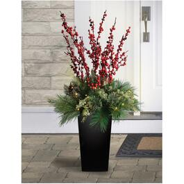 4' Cedar and Berries Potted Arrangement, with 50LED's thumb