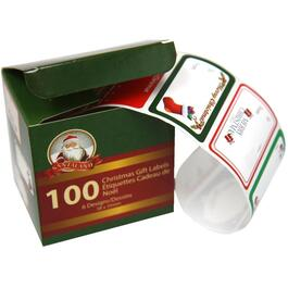 100 per Roll Christmas Peel 'N' Stick Gift Tags, Assorted Designs thumb