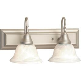 2 Light Lennox Pewter Vanity Light Fixture with Frosted Alabaster Glass Shades thumb