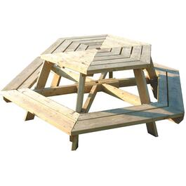 Uncut Spruce Hexagon Picnic Table thumb