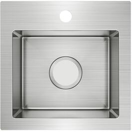 "15"" x 15"" x 6"" 1 Hole Dual Mount Stainless Steel Bar Sink thumb"