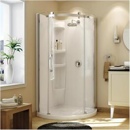 Olympia Round Left Hand Shower Door and White Base with Clear Glass, Chrome Trim thumb
