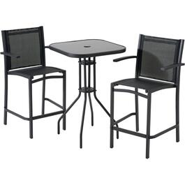 3 Piece Black Sling Bar Height Bistro Set thumb