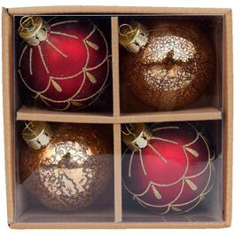 4 Pack Glass Heirloom Ornaments, Assorted Styles thumb