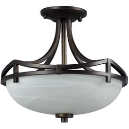 Colonial 2 Light Oil Rubbed Bronze Semi Flush Fixture with White Marbled Glass thumb
