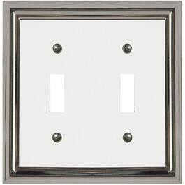 Estate Chrome with White Center Double Toggle Metal Switch Plate thumb