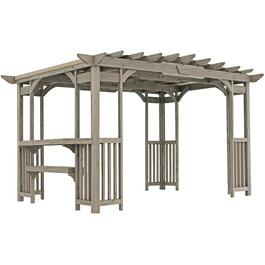 14' x 10' Charleston Grey Wood Pergola thumb