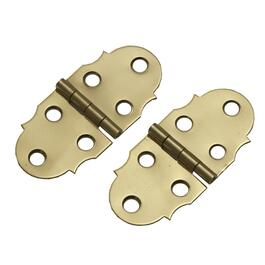 "2 Pack 1-5/16"" x 2-7/8"" Brass Decorative Hinges thumb"