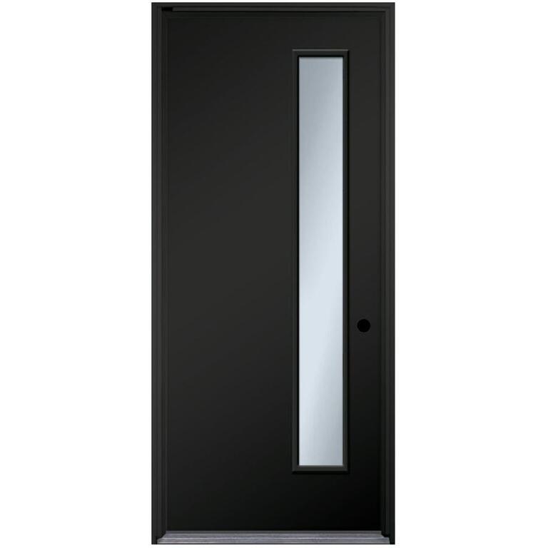 36 X 80 Black And White Left Hand 1 Lite Steel Door With 6 9 16