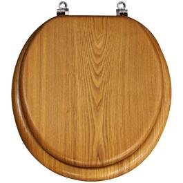 Medium Oak Toilet Seat, with Hinge for Round Toilets thumb