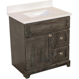 "Burlington 30"" 1 Door 2 Drawer Grey Oak Vanity with Quartz Top thumb"