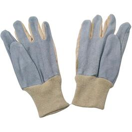 3 Pairs Men's Large Cotton Garden Gloves, with Split Leather Palm thumb