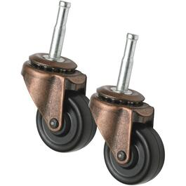 "2 Pack 1-5/8"" Double Bearing Rubber Stem Casters thumb"