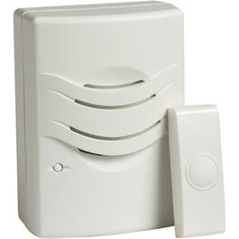 Wireless Battery Operated White Doorbell Chime with Button thumb