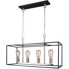 Roy 4 Light Matte Black and Brushed Nickel Chandelier Light Fixture thumb