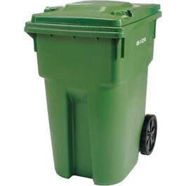 "360L Green European Grip Curbside Garbage Can, with 12"" Wheels thumb"