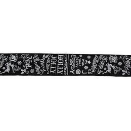 "2.5"" x 15' Black Linen Decorative Ribbon, with Words thumb"