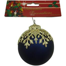 80mm Plastic Dark Blue with Gold Branches Ornament thumb