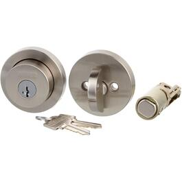 Satin Nickel Modern Round Single Cylinder Smart Key Deadbolt Lock thumb