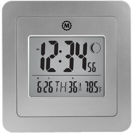 "8"" x 8"" x 1-1/2"" Graphite Grey Digital Clock, with Moon Phase thumb"