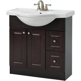 "32"" x 12"" 2 Door 2 Drawer Espresso Vanity with China Top thumb"