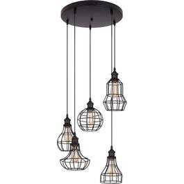 Lancy 5 Light Black Pendant Light Fixture with Wire Shades thumb