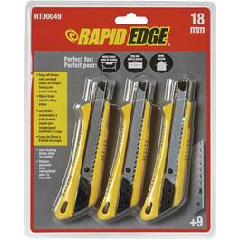 3 Piece 18mm Snap-Off Utility Knife Set thumb