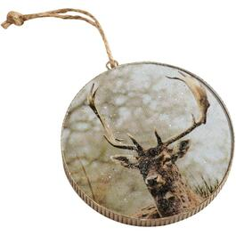 "3.5"" Deer Picture on Wood Disc Ornament thumb"