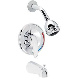 Chrome Solid Lever Pressure Balance Tub and Shower Faucet thumb