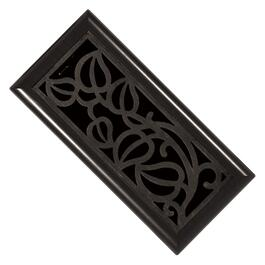 "3"" x 10"" Oil Rubbed Bronze Insert ABS Floor Diffuser with Mocha Outside Frame thumb"