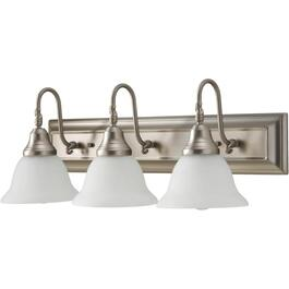 3 Light Lennox Pewter Vanity Light Fixture with Frosted Alabaster Glass Shades thumb