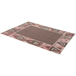 "95"" x 79"" Red and Black Flatweave Patio Rug thumb"
