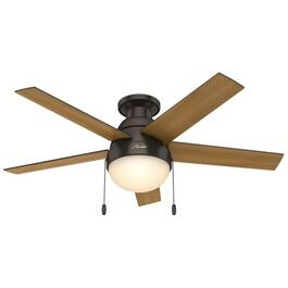 "Anslee 46"" 5 Blade Premier Bronze Low Profile Ceiling Fan with LED Lighting thumb"