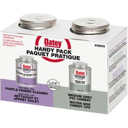 2 Pack of 237ml Purple Primer and Medium Grey PVC Cement thumb