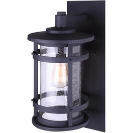Duffy 1 Light Black Outdoor Coach Downlight Fixture with Seeded Glass thumb