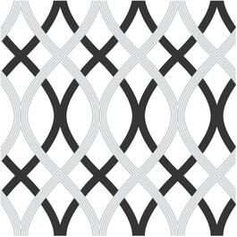 "20.5"" x 18' Black and Grey Lattice Peel and Stick Wallpaper thumb"