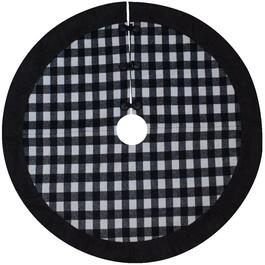 "52"" Round Black and White Plaid Tree Skirt thumb"