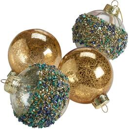 4 Pack Gold Glass Heirloom Ornaments, Assorted Styles thumb