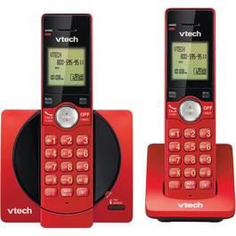 2 Pack Red Dect 6.0 Cordless Phones, with Caller Identification thumb