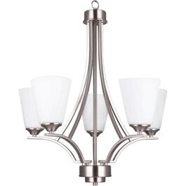 5 Light Satin Nickel Seattle Chandelier Light Fixture thumb