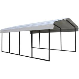 12' x 20' x 7' Black and Eggshell Steel Carport thumb