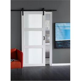"36"" x 84"" Bright White 3 Lite Opaque Glass Sliding Barn Door, with Hardware thumb"