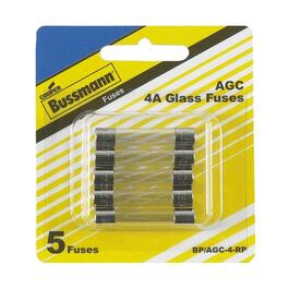 5 Pack 4 Amp 250 Volt Fast Act Glass Fuses thumb