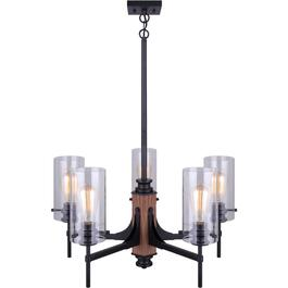 Arlie 5 Light Matte Black and Brown Faux Wood Chandelier Light Fixture thumb