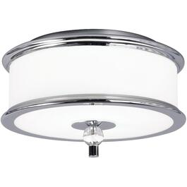 Orion 2 Light Chrome Flushmount Fixture with White Glass Shade thumb