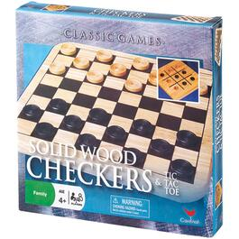 Solid Wood Checkers and Tic Tac Toe Game thumb