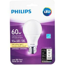 9.5W A19 Medium Base Soft White Dimmable LED Light Bulb thumb