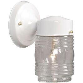 "7"" White Outdoor Jamjar Light Fixture with Clear Glass thumb"