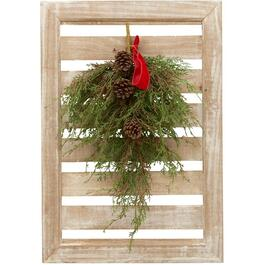 "26"" Wood Frame Wall Decor, with Cedar Swag thumb"